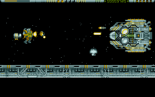 The first end of level boss. This one is a breeze, as long as you have a few smart bombs left!