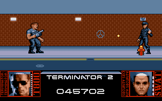 The run and shoot type of level. I really love the depiction of the energy meters at the bottom. There was a time lots of games had these. Where did we see it also ... Ah yes, Rambo 3 for example!