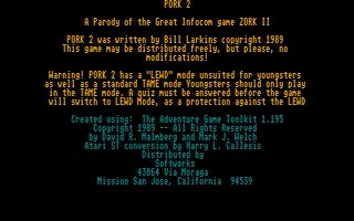 Screenshot of Pork 2 - A Parody of Zork 2