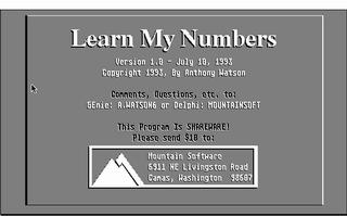 Screenshot of Learn My Numbers