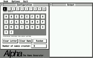 Screenshot of Alpha:The Name Generator