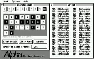 Screenshot of Alpha:The Name Generator