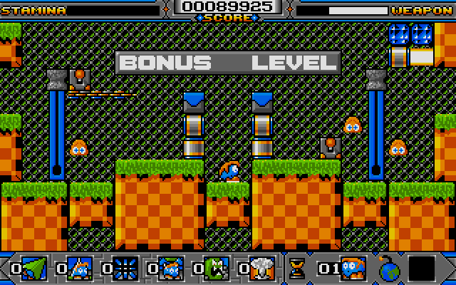 The bonus level. Pull the levers when a baddie is crawling at the right spot then have it squished...