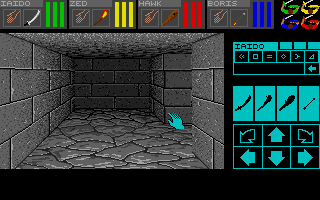 In Dungeon Master you move around in creepy, dark ...eerrrrrrrr... Dungeons :-)