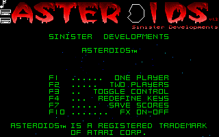 Screenshot of Asteroids