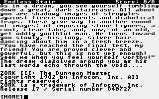 Screenshot of Zork III - The Dungeon Master