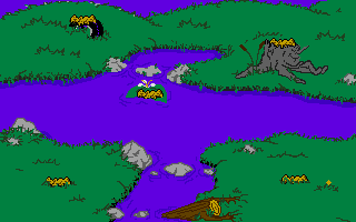 This is a never released picture of the Swamp level. This sadly never made it to the finished product.