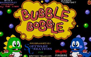 The classic Bubble Bobble game. Jon's favorite ST game.
