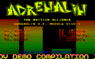 Adrenalin UK Module Disk 1 - The main work was done by Mac Error of Adrenalin UK, but soundtrack routines were created by MSD of POV