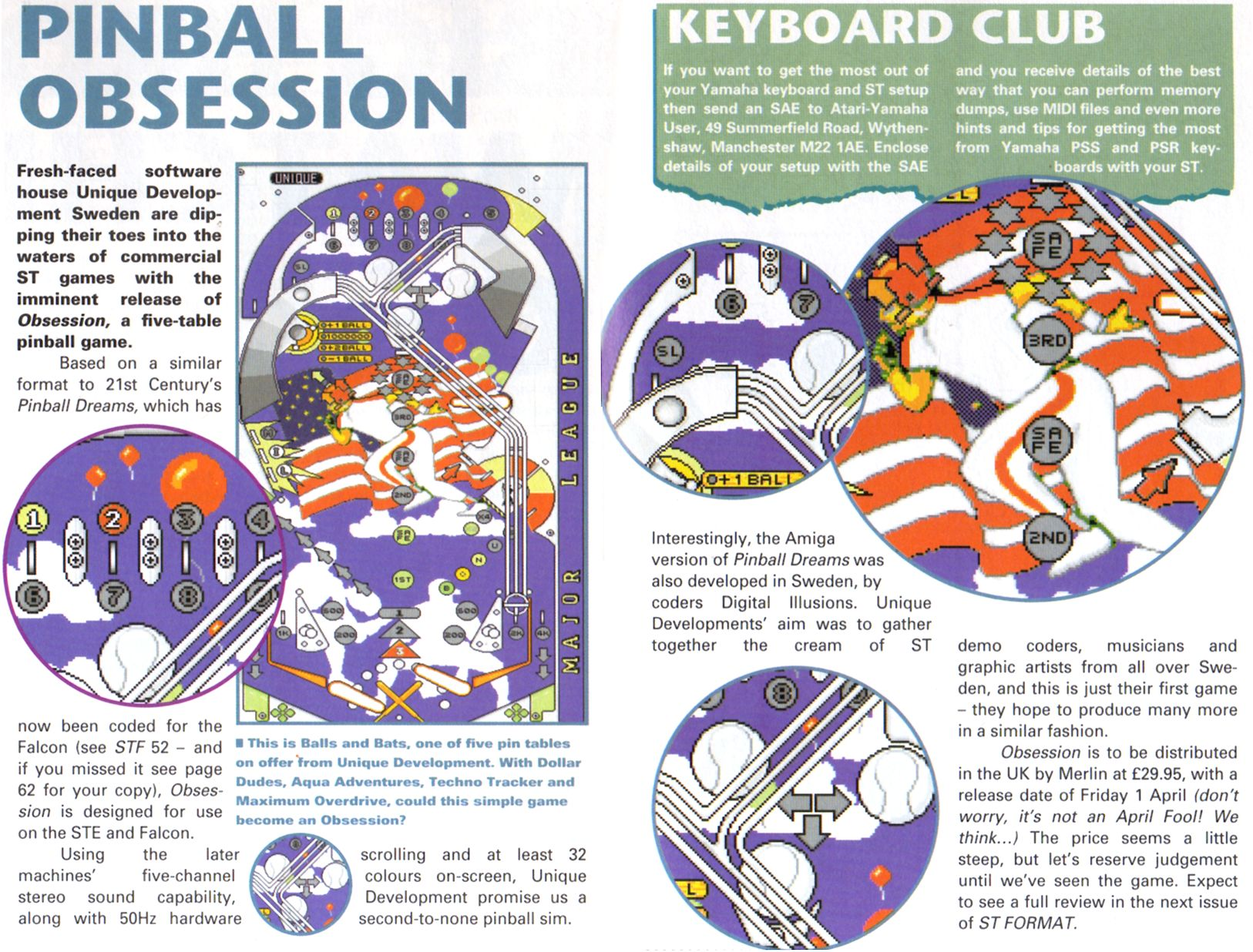 This is an early version of Obsession. The original idea was to make a simple shareware pinball game for the STE, on the level of 'Smash Hit Tennis'