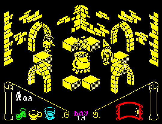 Knight Lore - one of the biggest games on the Speccy, created by company 'Ultimate', which later became 'Rare'