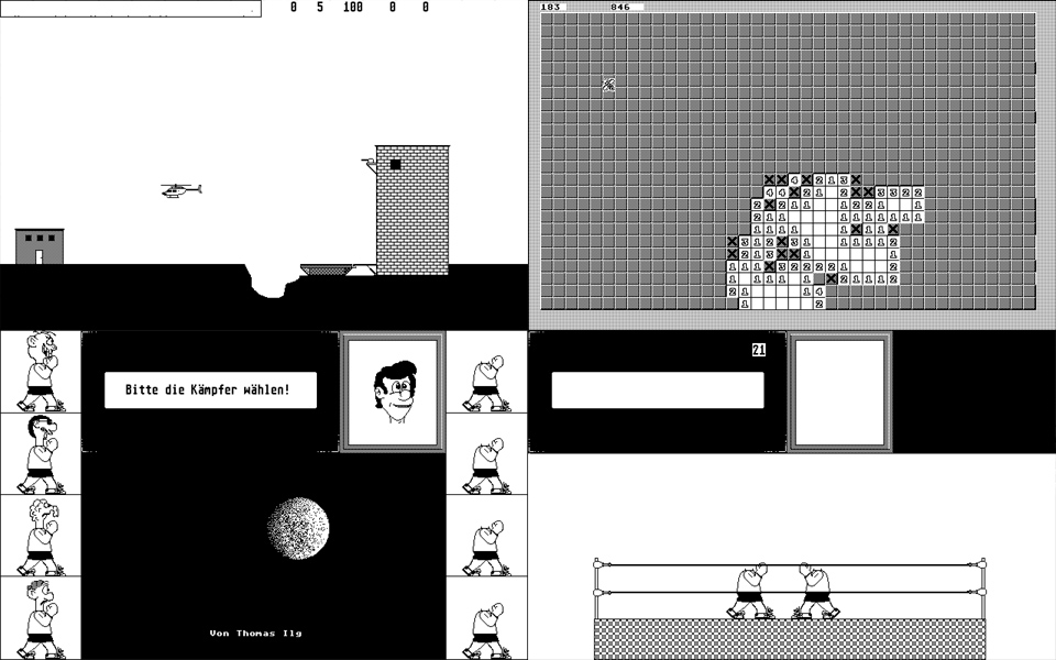 Some screenshot of Thomas' unfinished work. A selection of mono games. I immediately see a Choplifter clone.