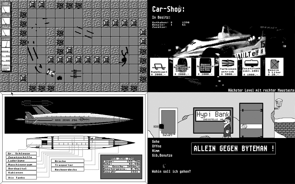 More unreleased mono games. A lot of attention to detail went into the graphics of these screens. The Top Down racer you see was almost done (apart from openent AI) and was called 'Cash Racer'.