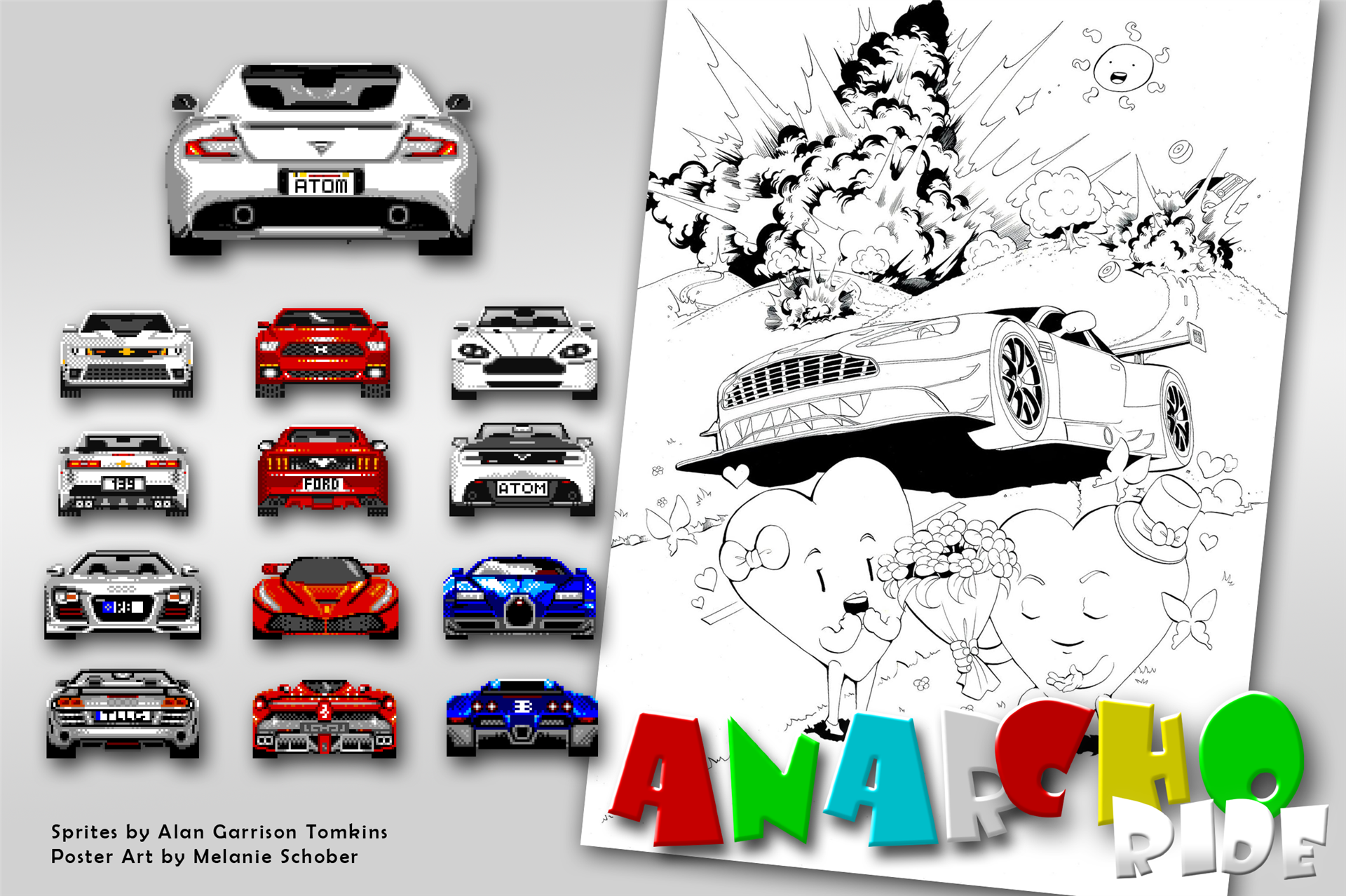 Some artwork by Alan Tomkins and the original poster sketch by Melanie Schober for the game Anarcho Ride.