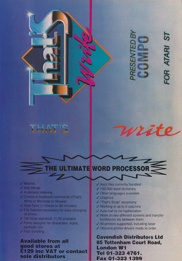 That's Write was one of the best word processors on the Atari ST and was also featured in the Business Pack.