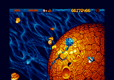 Because Stardust was a one screen game, more processing power could be used to play Amiga-type MOD music.