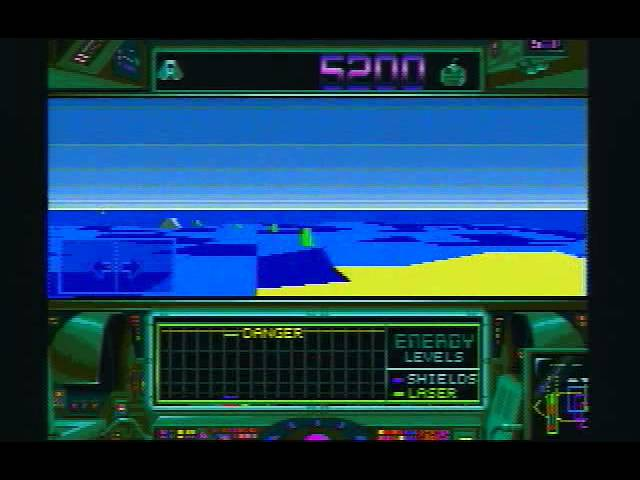 There were some crazy land levels in Zero-5, featuring polygon waves at sea. This is a shot from the Atari Falcon version.