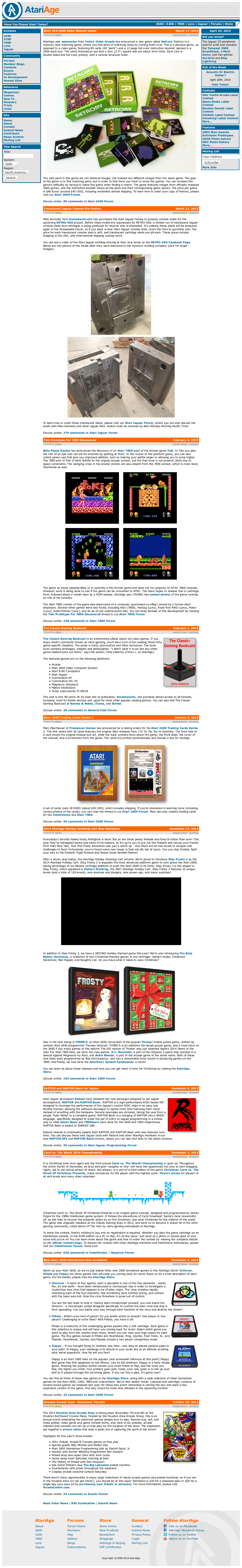 Screenshot of website AtariAge