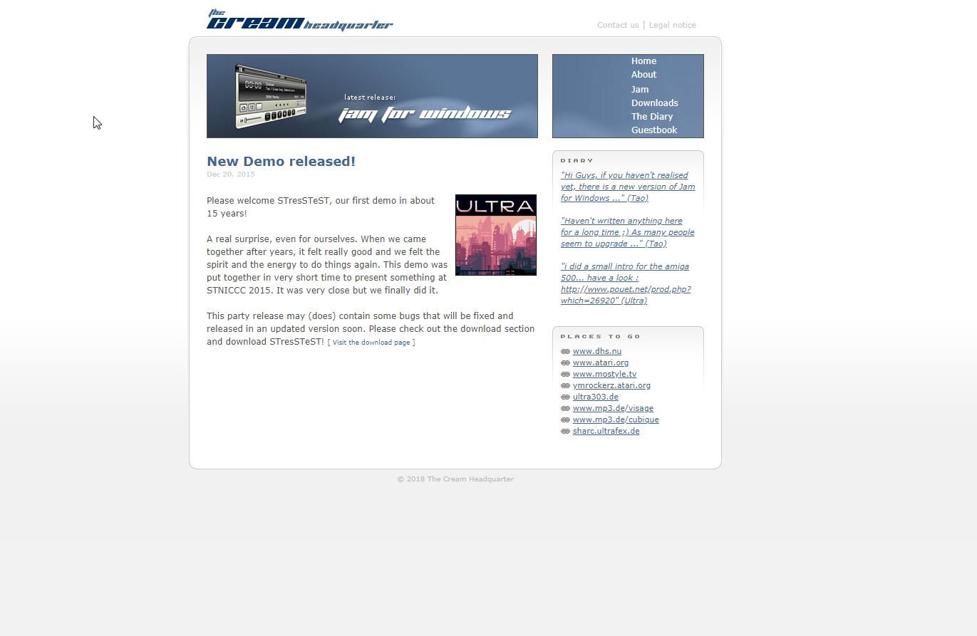 Screenshot of website Cream HQ