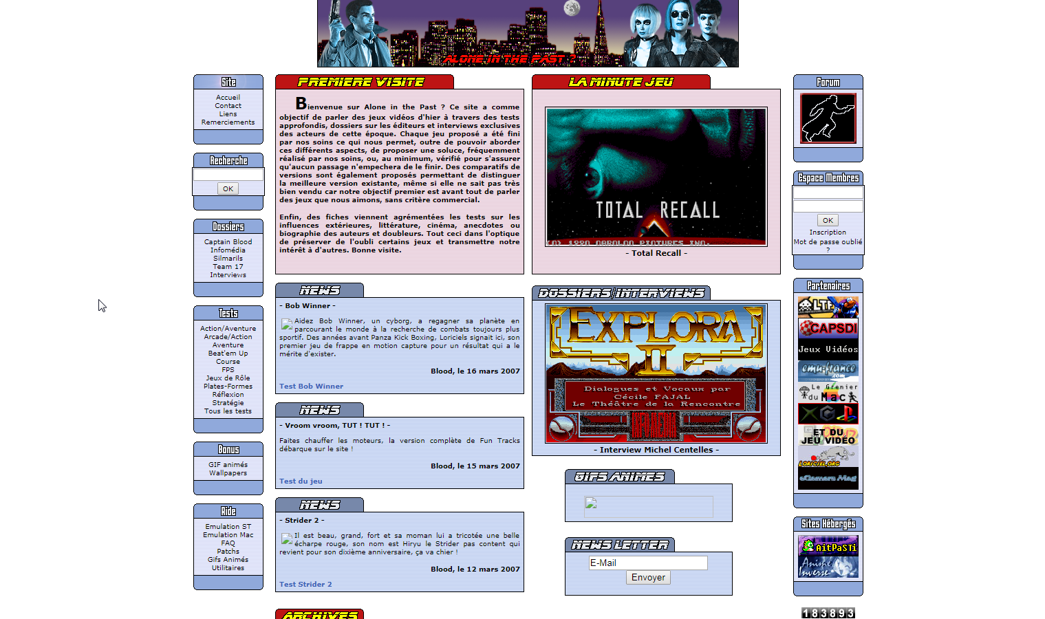 Screenshot of website Alone in the Past
