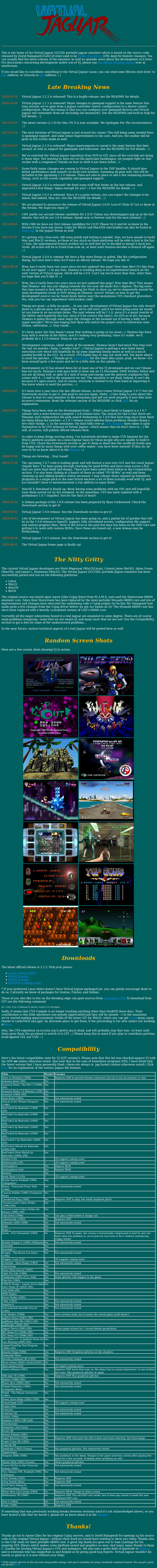Screenshot of website Virtual Jaguar