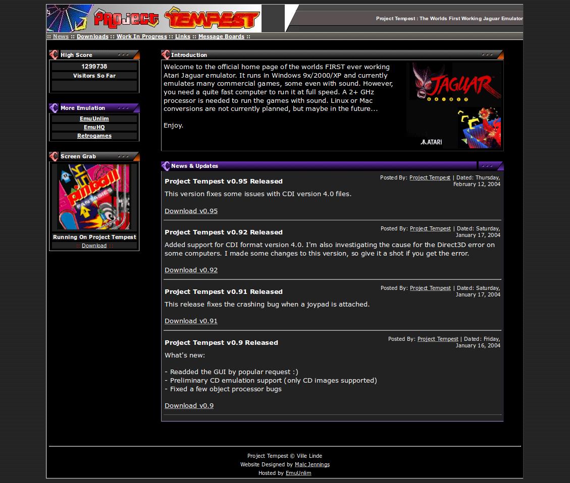 Screenshot of website Project Tempest
