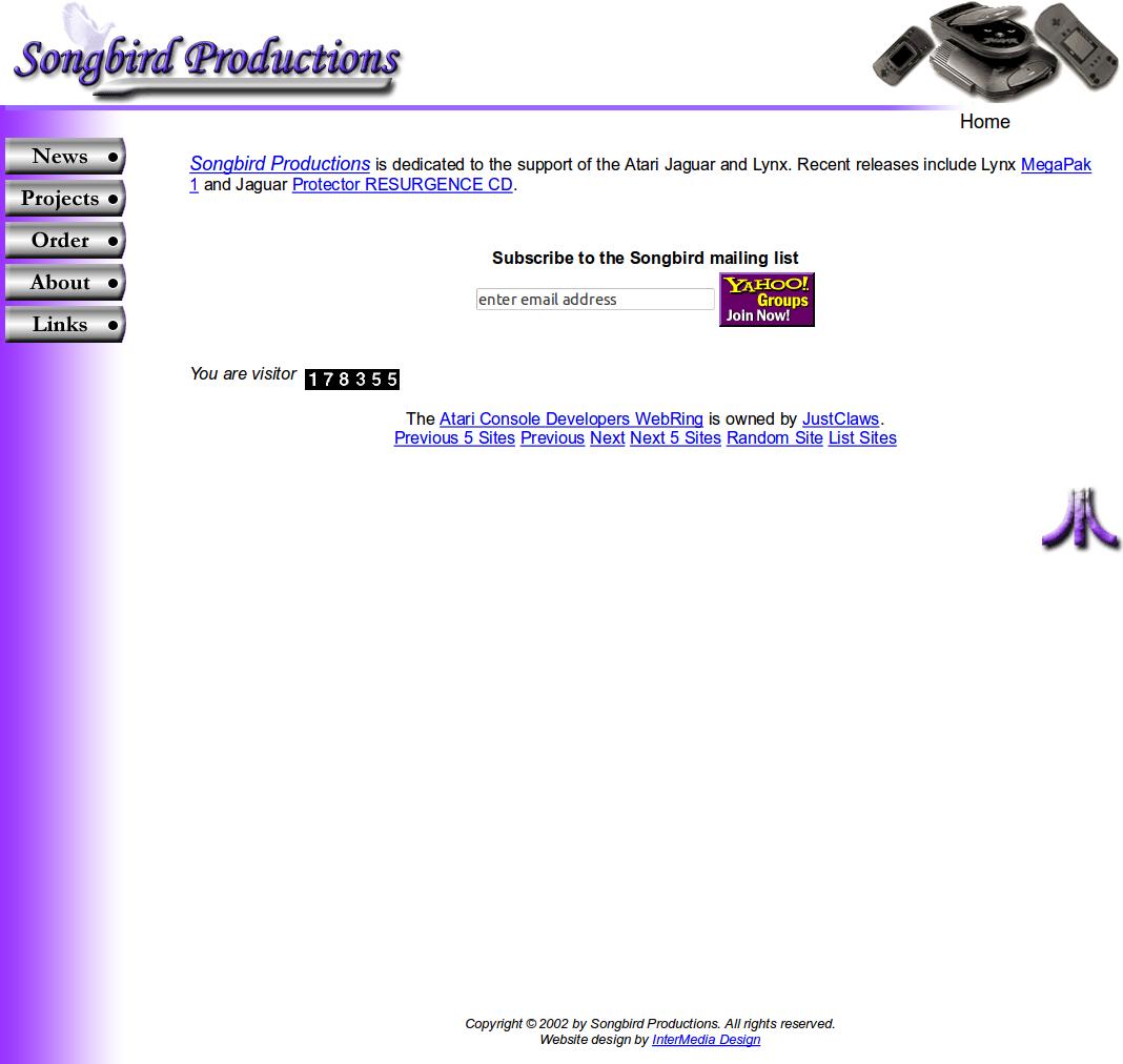 Screenshot of website Songbird productions