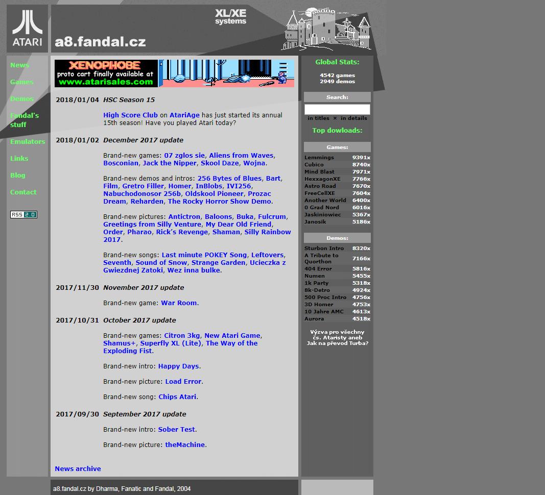 Screenshot of website Fandal