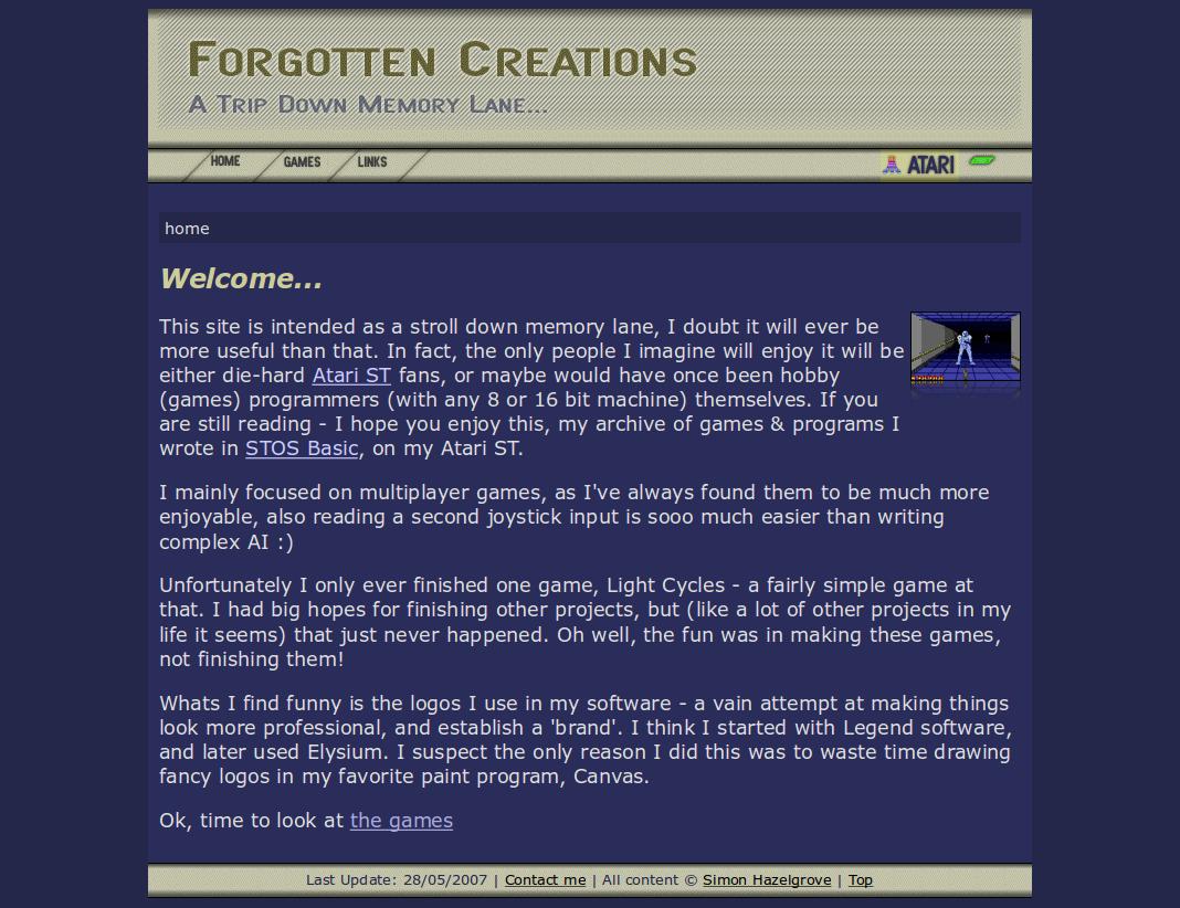 Screenshot of website Forgotten Creations