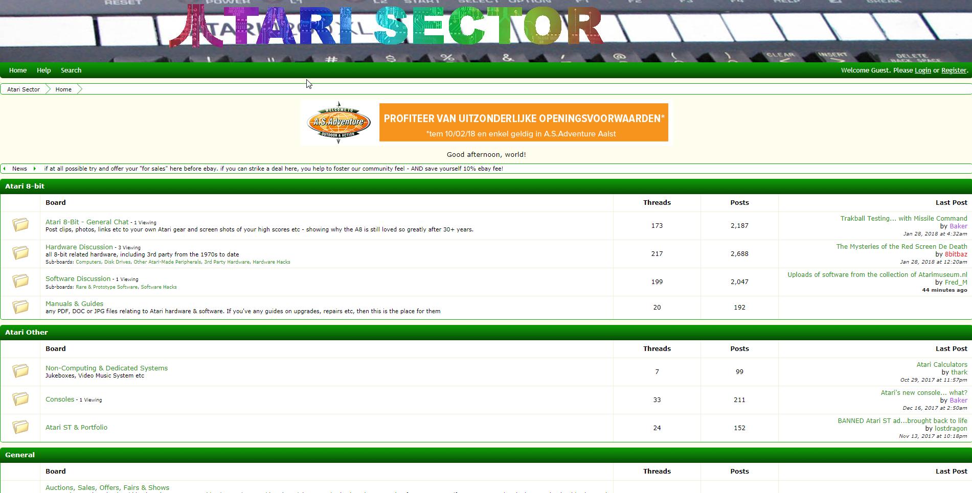 Screenshot of website Atari Sector