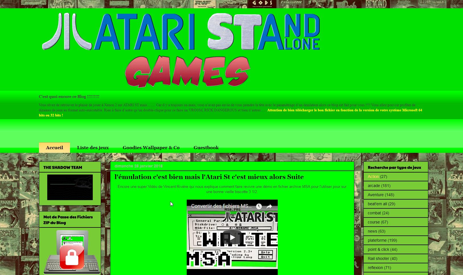Screenshot of website Atari ST and alone games