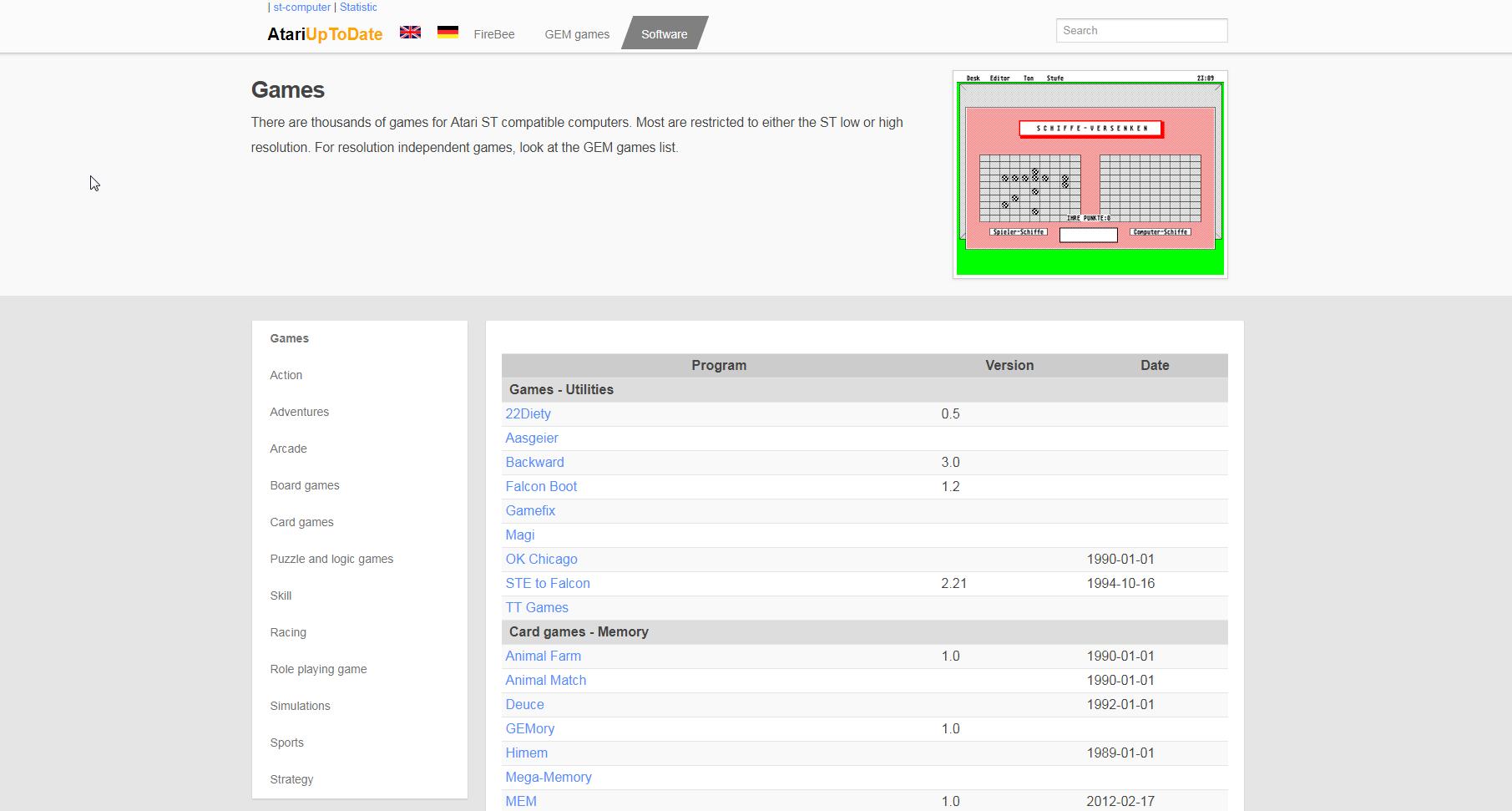 Screenshot of website AtariUpToDate