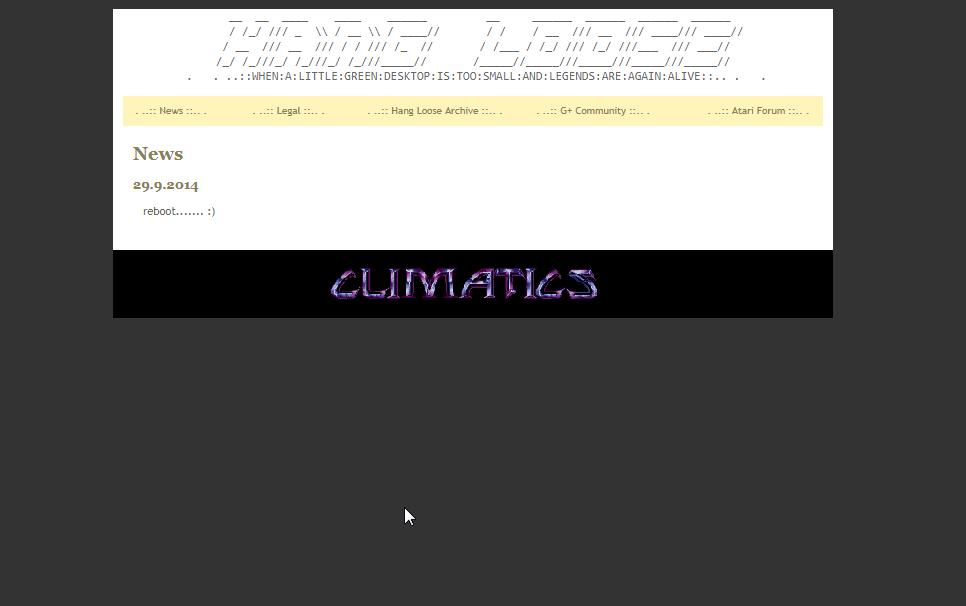 Screenshot of website Climatics Hangloose archive
