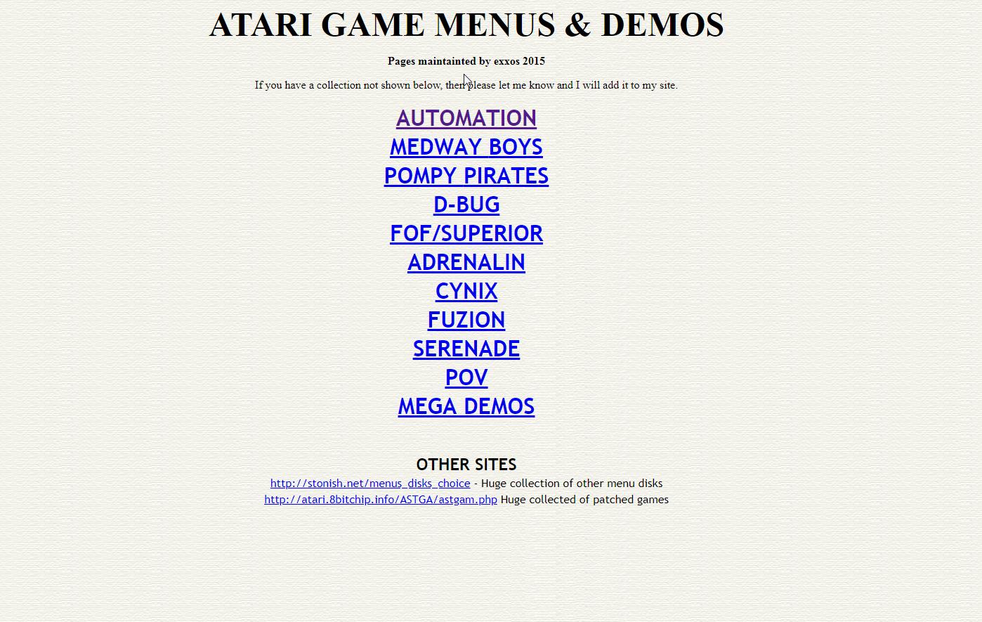 Screenshot of website Atari game menus and demos