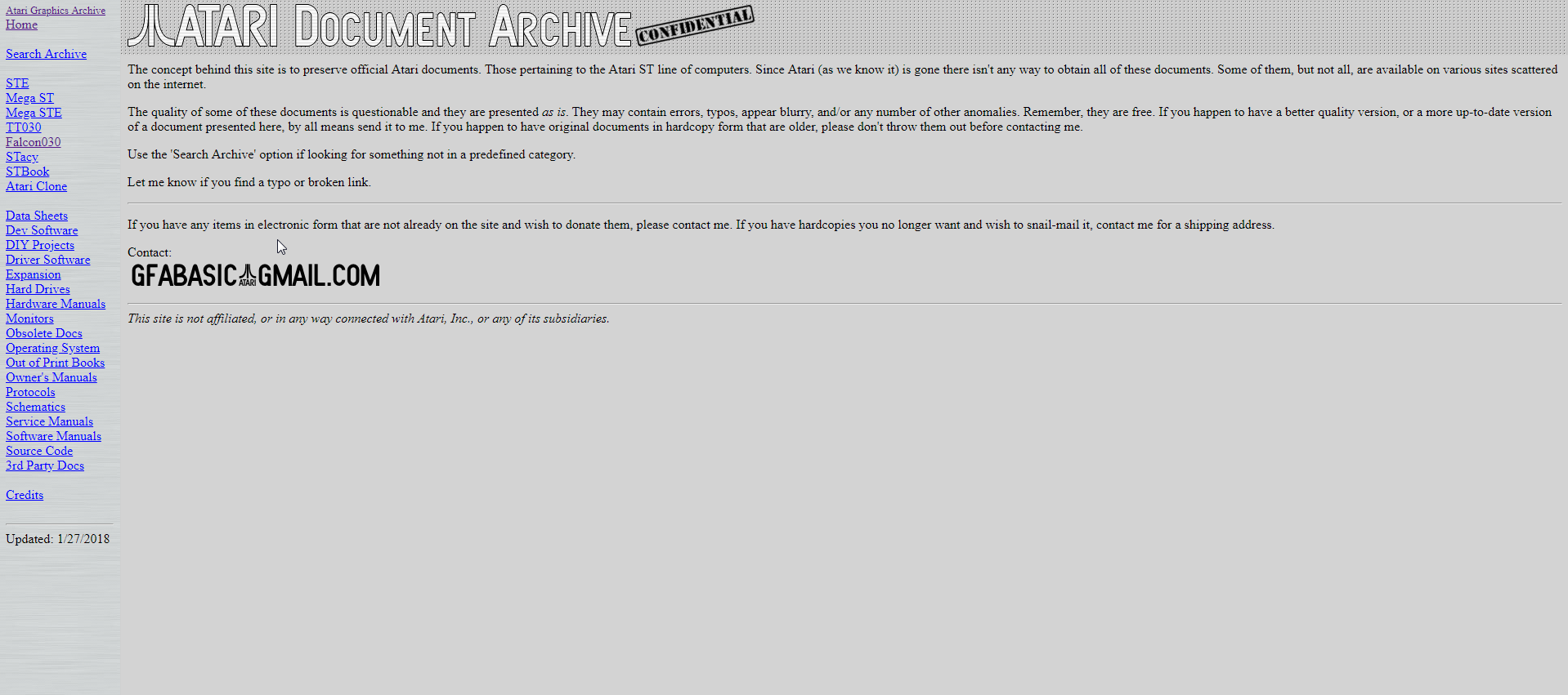 Screenshot of website Atari Documentation Archive