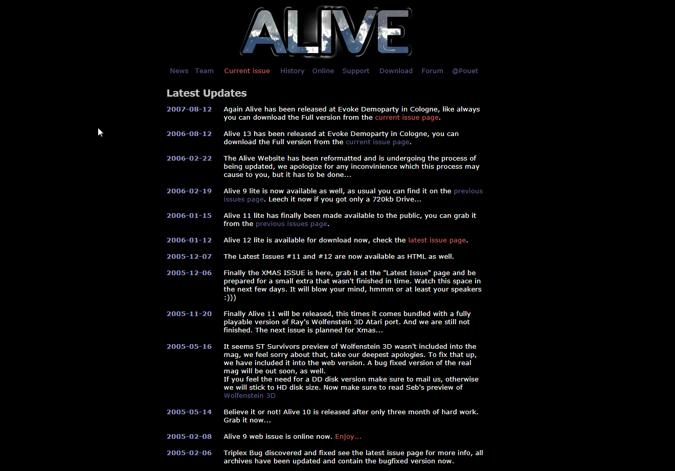 Screenshot of website Alive HQ