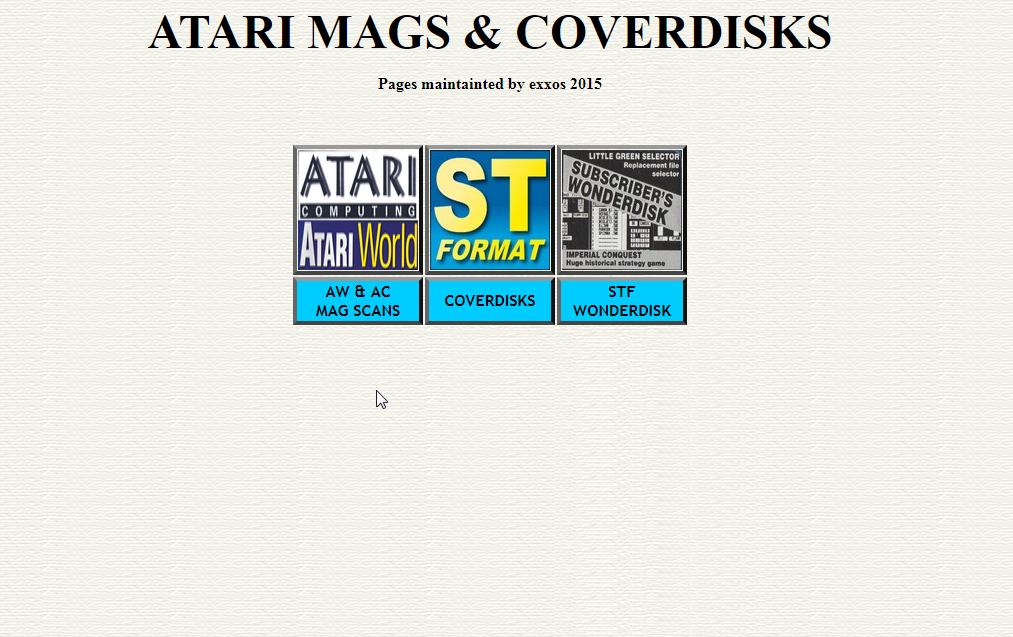 Screenshot of website Atari Mags & Coverdisks