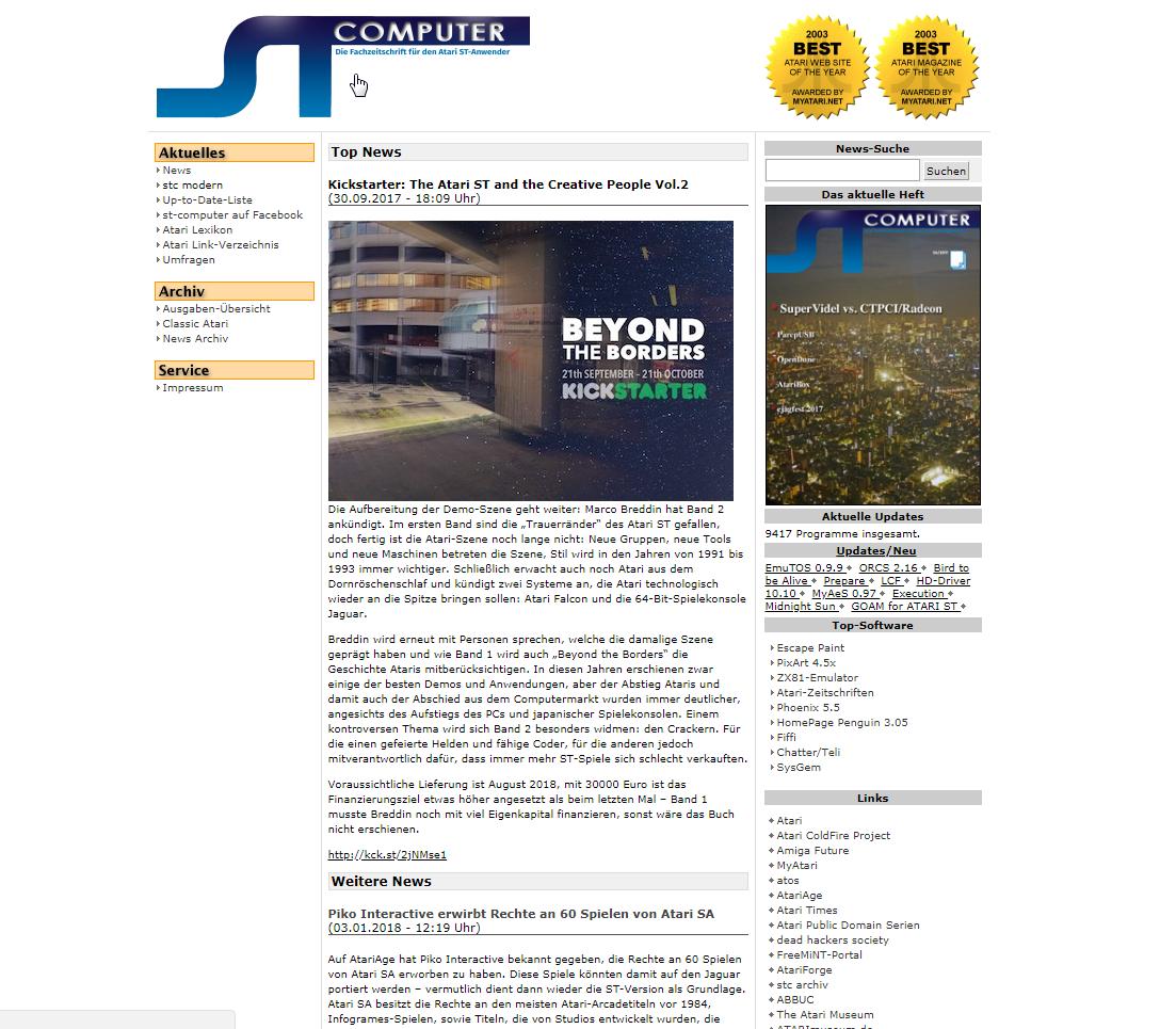 Screenshot of website ST Computer magazine