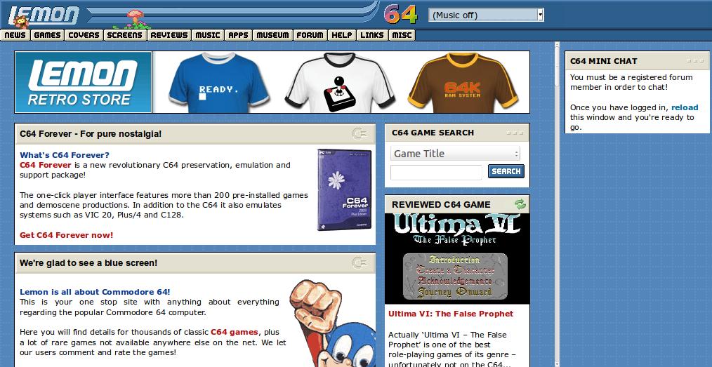 Screenshot of website Lemon64