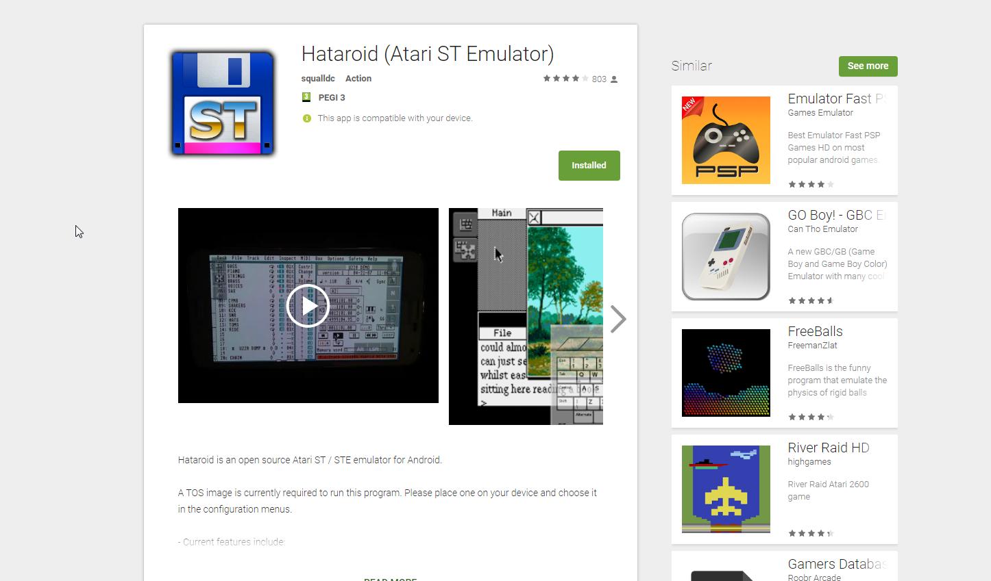 Screenshot of website Hataroid
