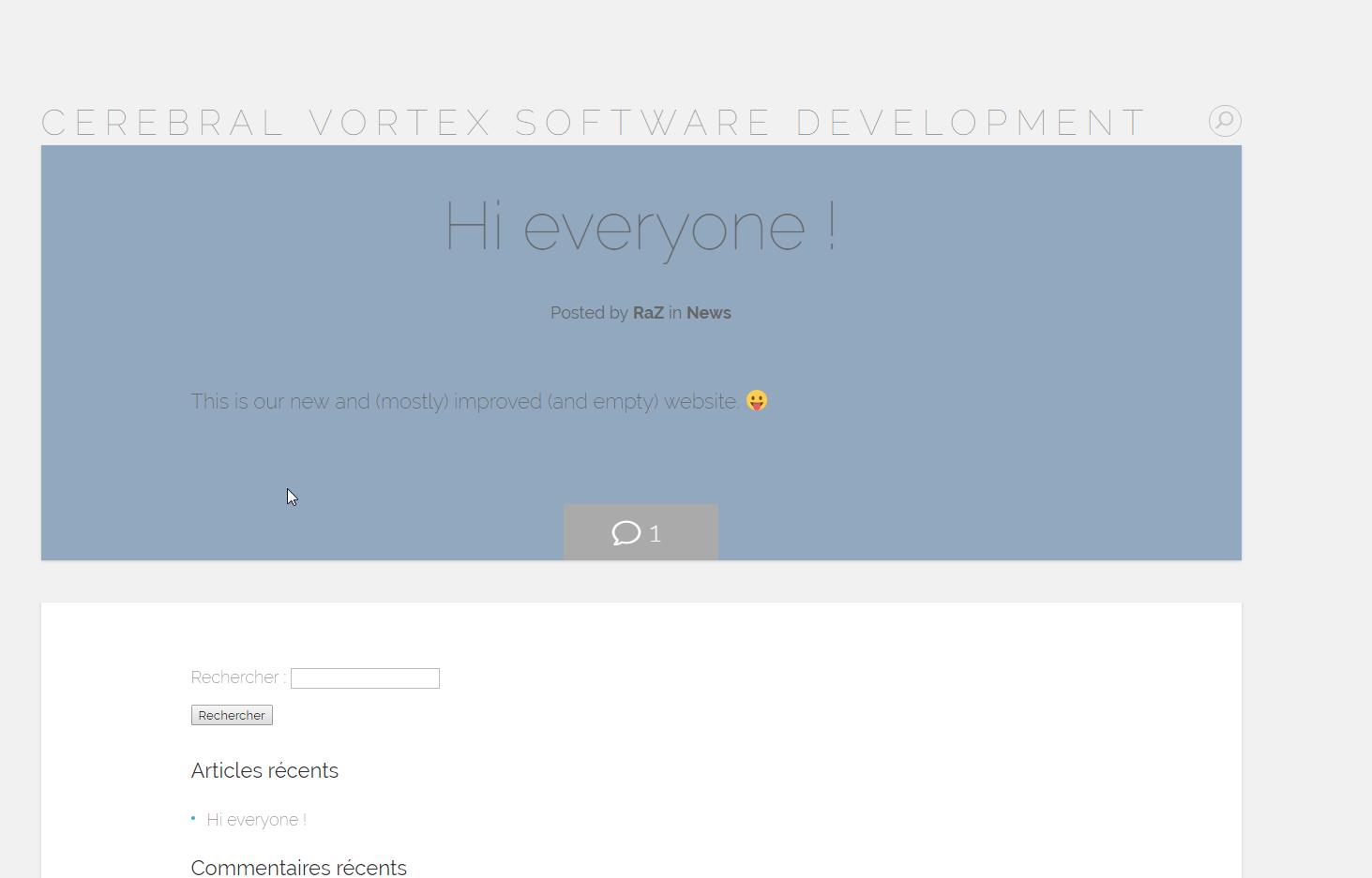 Screenshot of website Cerebral Vortex