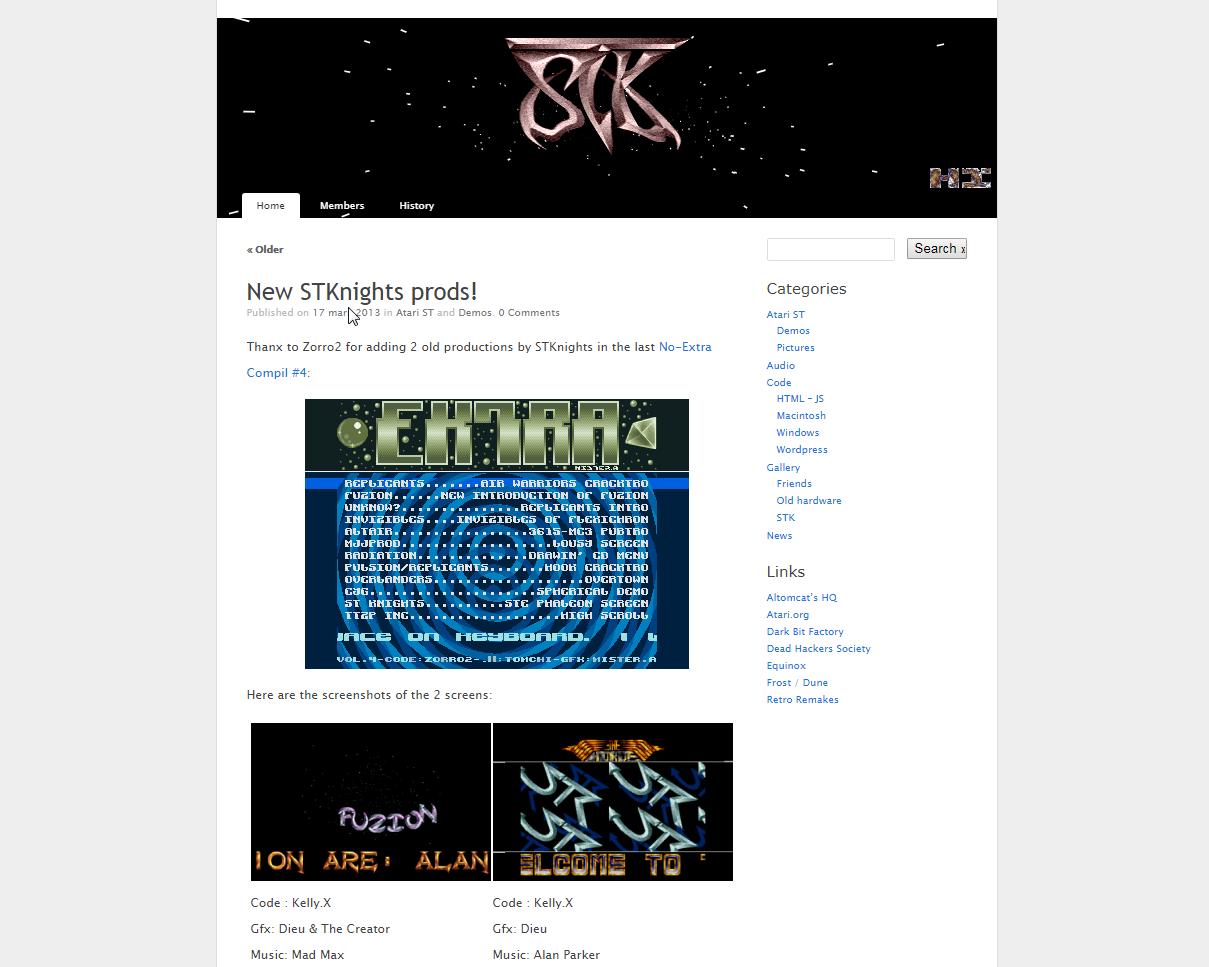 Screenshot of website ST Knights