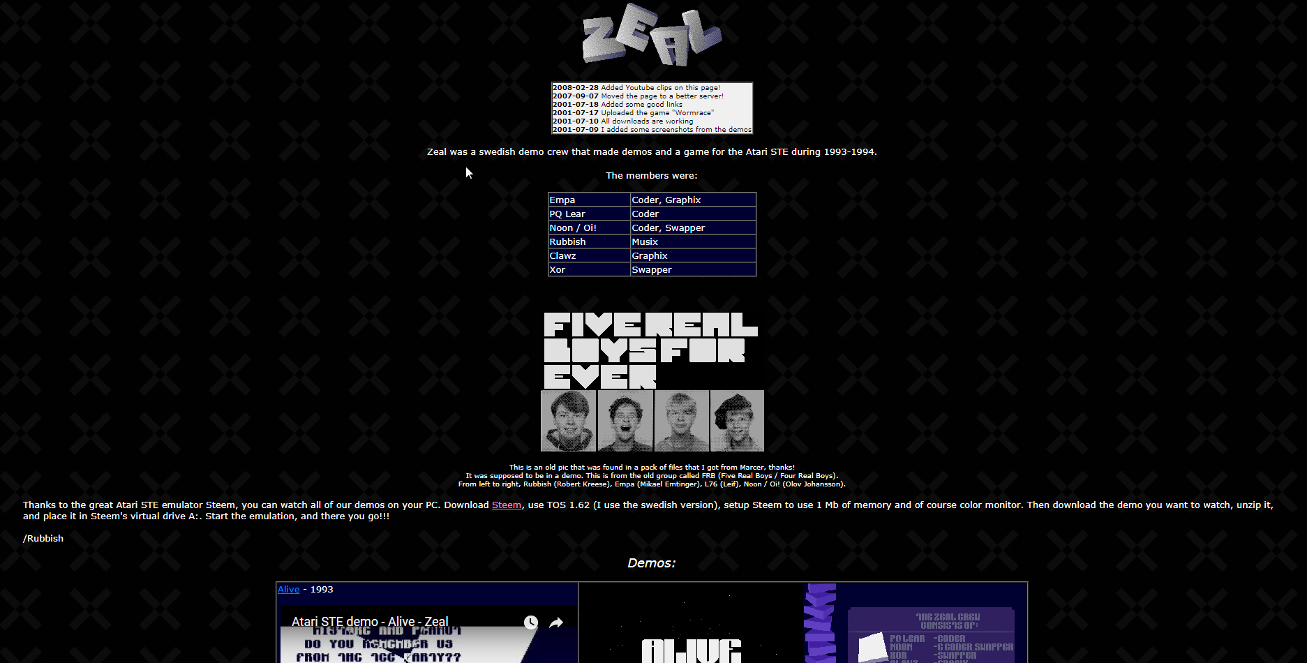 Screenshot of website Zeal