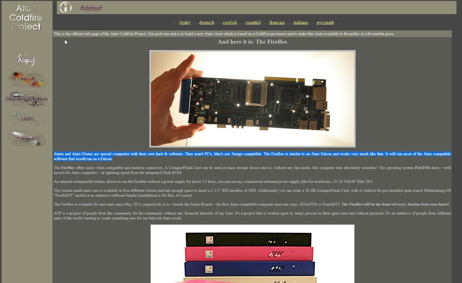 Screenshot of website Atari Coldfire project