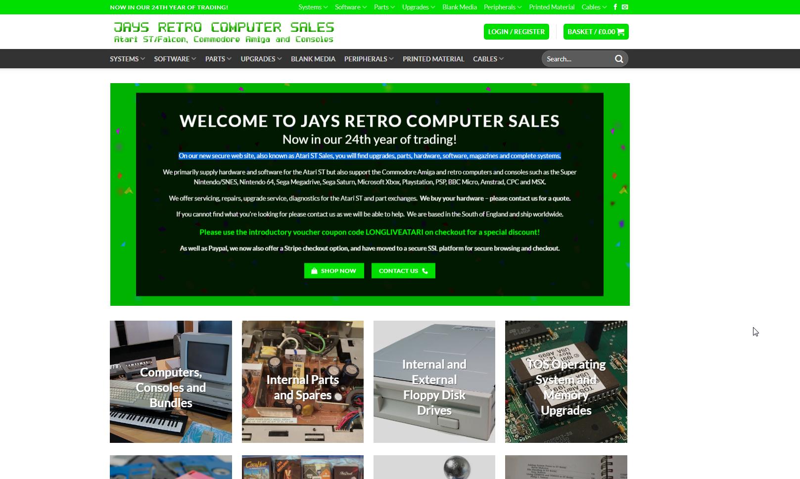 Screenshot of website Jay's retro computer sales