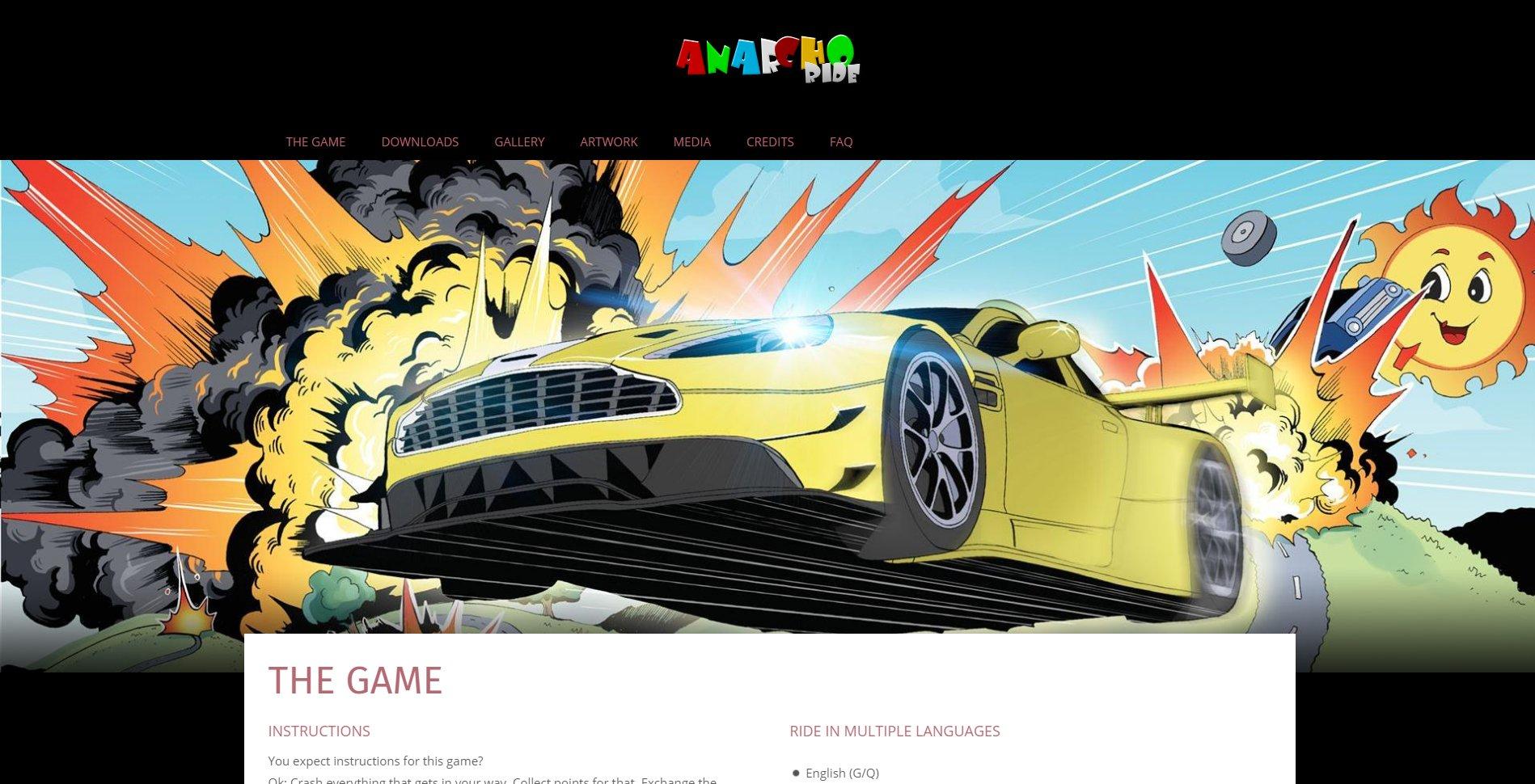 Screenshot of website ANARCHO Ride Homepage