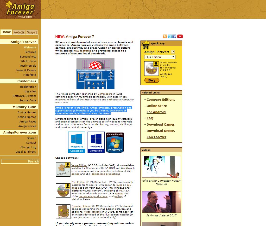 Screenshot of website Amiga Forever