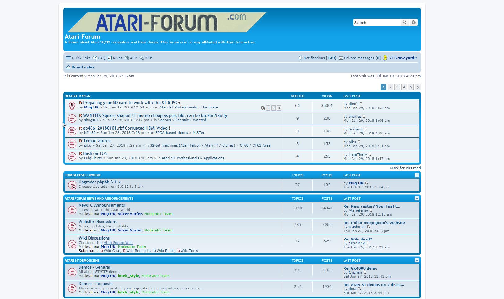 Screenshot of website Atari Forum