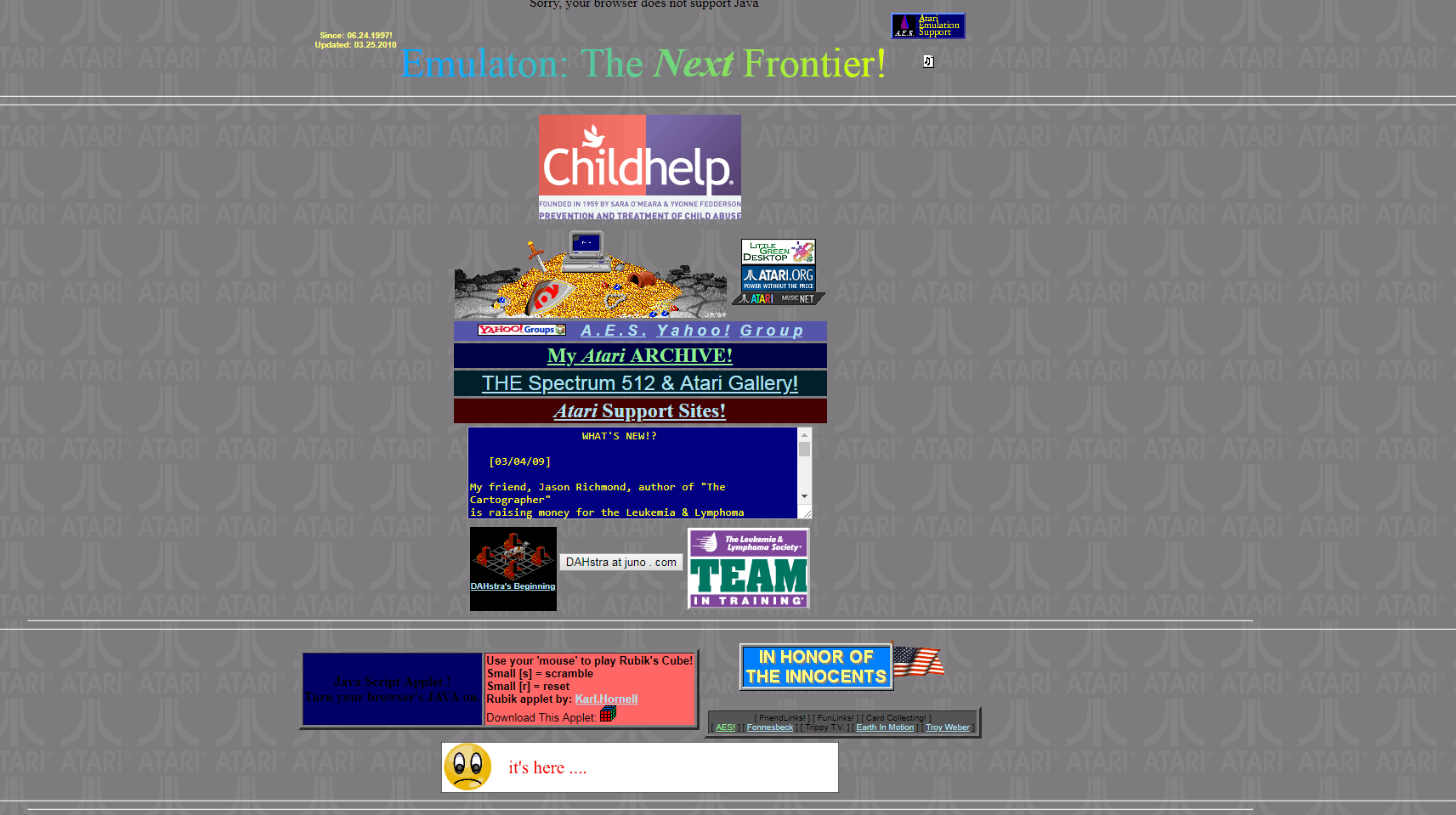 Screenshot of website Atari Emulation Support
