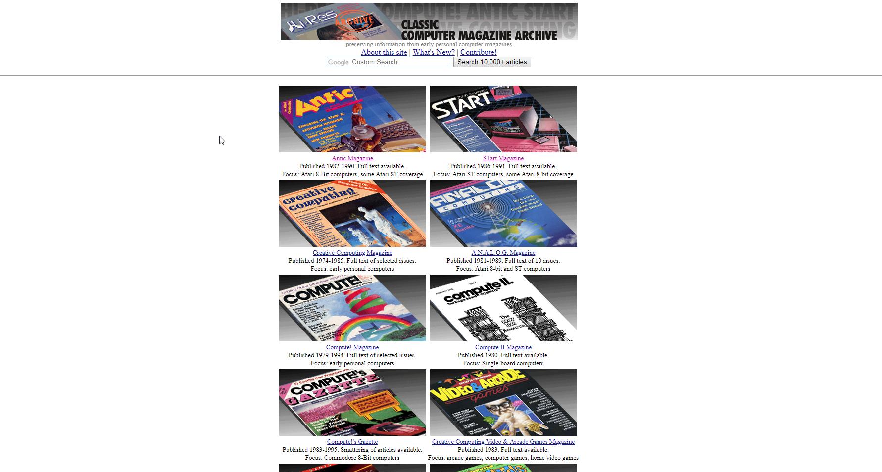 Screenshot of website Classic Computer Magazine Archive